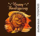 happy thanksgiving poster... | Shutterstock .eps vector #719347633