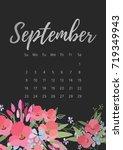 vintage floral calendar 2018... | Shutterstock .eps vector #719349943