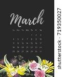 vintage floral calendar 2018... | Shutterstock .eps vector #719350027
