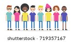 set of characters wearing... | Shutterstock .eps vector #719357167