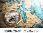 compass on vintage map.... | Shutterstock . vector #719357617