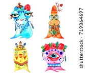 boho monsters set. hand drawn... | Shutterstock . vector #719364697