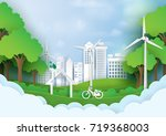 green eco city.save the world... | Shutterstock .eps vector #719368003