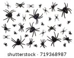 halloween spiders isolated on... | Shutterstock . vector #719368987