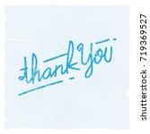 a blue vintage thank you doodle ... | Shutterstock .eps vector #719369527