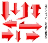 arrows. set of red shiny icons. ...   Shutterstock .eps vector #719370733
