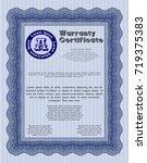 blue vintage warranty template. ... | Shutterstock .eps vector #719375383