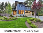 luxurious new home with curb... | Shutterstock . vector #719379463