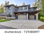 new construction home exterior...   Shutterstock . vector #719380897