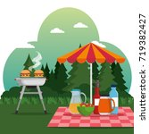 summer picnic outdoor barbecue... | Shutterstock .eps vector #719382427
