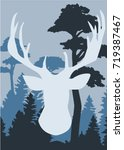 silhouette of a deer with pine... | Shutterstock .eps vector #719387467