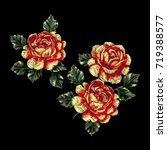 embroidery with roses. rose set.... | Shutterstock .eps vector #719388577