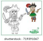 cute girl in pirate costume... | Shutterstock .eps vector #719391067