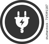 plug icon . dark circle sign...   Shutterstock .eps vector #719391187