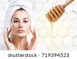 young woman prepare for honey... | Shutterstock . vector #719394523