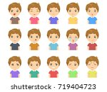 set of cartoon cute caucasian... | Shutterstock .eps vector #719404723