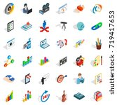 palette icons set. isometric... | Shutterstock .eps vector #719417653