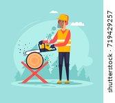 woodcutter  sawing wood. flat... | Shutterstock .eps vector #719429257