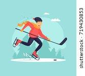 boy playing hockey. winter....   Shutterstock .eps vector #719430853
