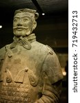 Small photo of XIAN, CHINA - May 11, 2017: The sculpture in Terracotta Army, a form of funerary art buried with the emperor and whose purpose was to protect the emperor in his afterlife.