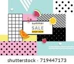 summer sale announcement banner.... | Shutterstock .eps vector #719447173