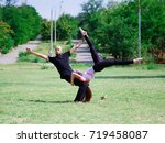 yoga in the park  outdoor with... | Shutterstock . vector #719458087