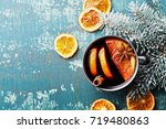hot christmas mulled wine or... | Shutterstock . vector #719480863