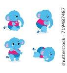 blue elephant cartoon | Shutterstock .eps vector #719487487