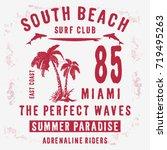vintage composition miami beach ... | Shutterstock .eps vector #719495263