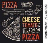 pizza food menu for restaurant... | Shutterstock .eps vector #719500723