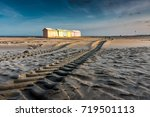 multicolored bathing cabins... | Shutterstock . vector #719501113