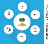 flat icon summer set of coconut ... | Shutterstock .eps vector #719507713