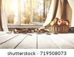 autumn background of desk and... | Shutterstock . vector #719508073