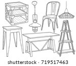 hand drawn sketchy industrial... | Shutterstock .eps vector #719517463