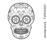 day of the dead colorful skull... | Shutterstock .eps vector #719525347