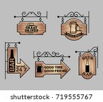 wood bar signage | Shutterstock .eps vector #719555767