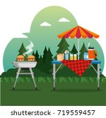 summer picnic outdoor barbecue... | Shutterstock .eps vector #719559457