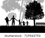 family silhouettes in nature. | Shutterstock .eps vector #719563753