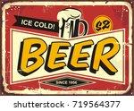 beer vintage tin sign for cafe... | Shutterstock .eps vector #719564377