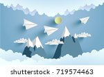 paper planes cross mountains... | Shutterstock .eps vector #719574463