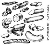 hand drawn sausages kind  set... | Shutterstock . vector #719576683