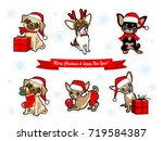 christmas and new year stickers ... | Shutterstock .eps vector #719584387