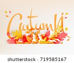 colorful autumn leaves with... | Shutterstock .eps vector #719585167