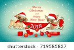 christmas and new year card... | Shutterstock .eps vector #719585827