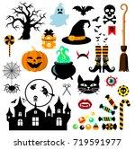 set of halloween design... | Shutterstock .eps vector #719591977