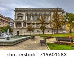 fountain in a park full of... | Shutterstock . vector #719601583