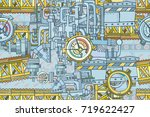 abstract seamless industrial... | Shutterstock .eps vector #719622427