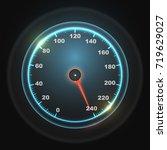 glowing round car speedometer... | Shutterstock .eps vector #719629027