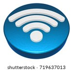 wifi symbol button on white...   Shutterstock . vector #719637013