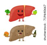 sad unhealthy sick liver with... | Shutterstock .eps vector #719640667